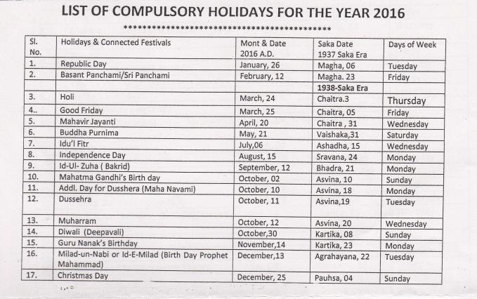 Compulsory Holidays 2016