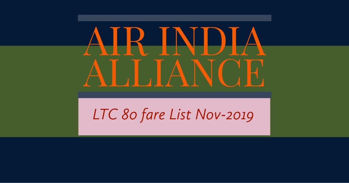 Air India Alliance 80 fare