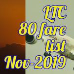 LTC 80 fare list November 2019