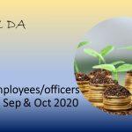 Bank employees/officers DA Aug, Sep & Oct 2020