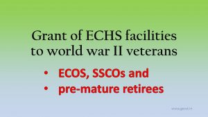 ECOS, SSCOs and pre-mature retirees