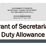 Grant of Secretariat Duty Allowance