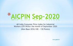 All India Consumer Price Index for Industrial Workers (CPI-IW)for the month of September 2020 (New Base 2016=100 - 118 Points)