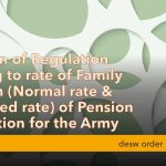 Revision of regulation relating to rate of family pension of pension regulation for the army