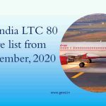 Air India LTC 80 fare list from November, 2020